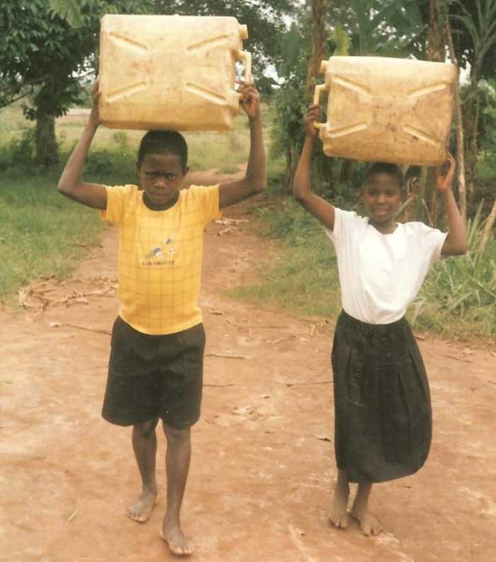 Children Carrying Water on Heads
