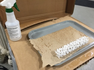 Spraying with salt water to crystalize the plaster and strengthen the prototype